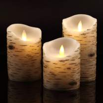 """Vinkor Flameless Candles Flickering Candles Birch Bark Set of 4""""5""""6"""" Battery Candles Real Wax Pillar with Remote Timer"""