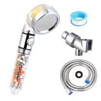 Gyrategirl Vitamin C Filter Shower Head Set, Universal Filtered Shower Head System with 60 Inch Shower Hose & Bracket, Hard Water Softener & High Pressure Handheld Showerheads for Dry Skin, Hair Loss