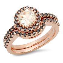 Dazzlingrock Collection 14K Round Morganite & Black Diamond Ladies Bridal Halo Style Engagement Ring Set, Rose Gold