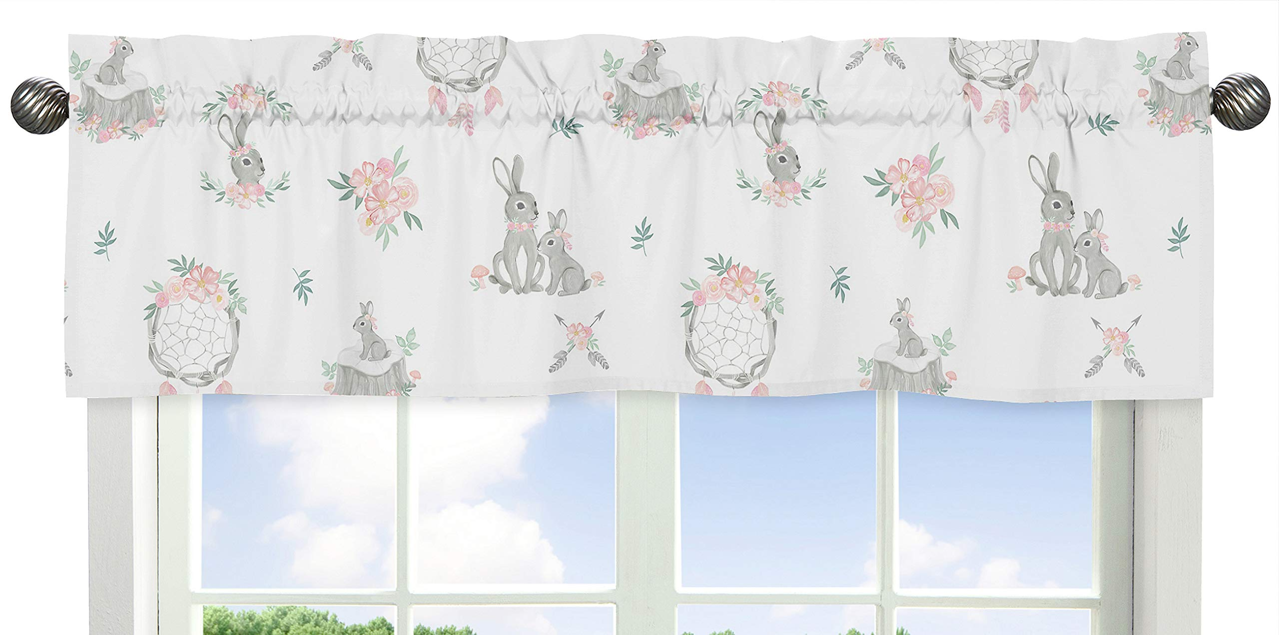 Sweet Jojo Designs Blush Pink and Grey Woodland Boho Dream Catcher Arrow Window Treatment Valance for Gray Bunny Floral Collection - Watercolor Rose Flower