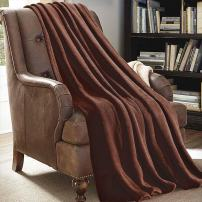 "JML Plush Throw Blanket 50"" x 60"", Plush Soft Fleece Blanket - Lightweight All Season Couch Sofa Blanket, Solid Color Coffee"