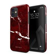 BURGA Phone Case Compatible with iPhone 11 - Iconic Ruby Red Marble Cute Case for Women Heavy Duty Shockproof Dual Layer Hard Shell + Silicone Protective Cover
