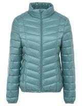 chouyatou Women's Casual Cute Zipper Light Chevron-Quilted Packable Down Snow Jacket