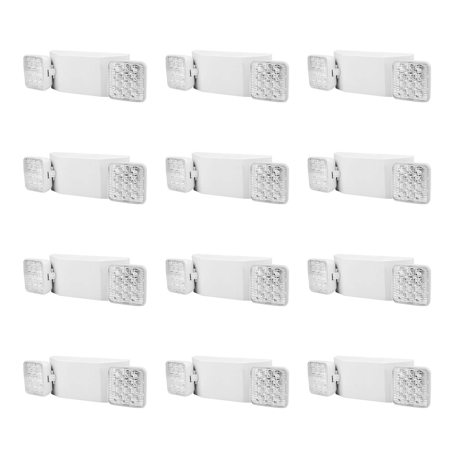 AKT LIGHTING Commercial Emergency Light, Back-up Battery Emergency Exit Lighting Fixtures with Adjustable Hardwired 2 LED Head Wall Mount White for Hallways/Stairways, UL Certified(12 Pack)