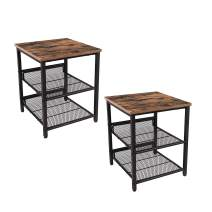 Industrial Tables Nightstand, Set of 2 Side Tables, Industrial End Table with Mesh Shelves, for Living Room, Bedroom, Stable Metal Frame and Easy Assembly