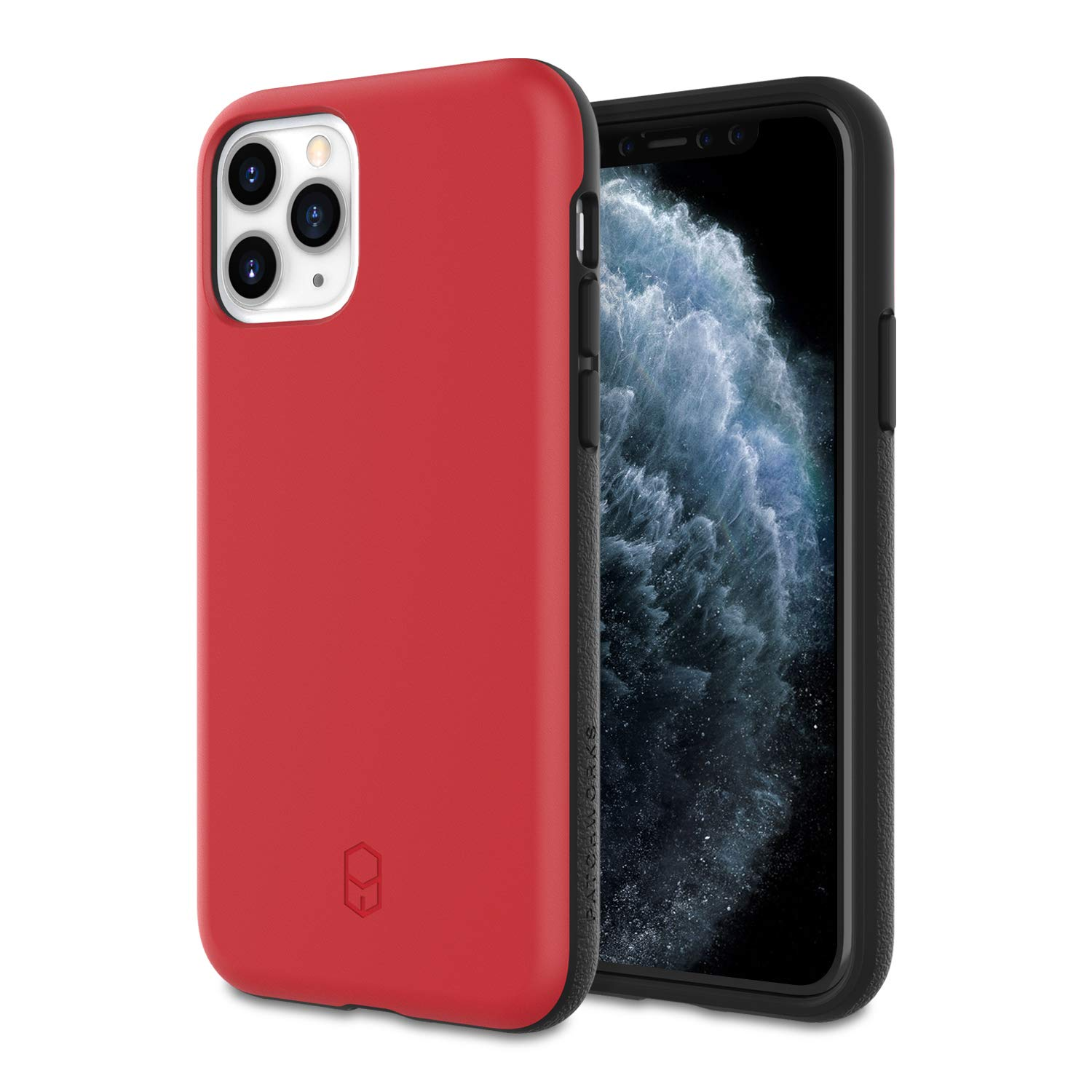 PATCHWORKS iPhone 11 Pro Case [Level ITG Series] Thin Hybrid Shockproof Dual Layer TPU + PC Case [Military Grade Drop Test Certified] [Wireless Charging Compatible], Red