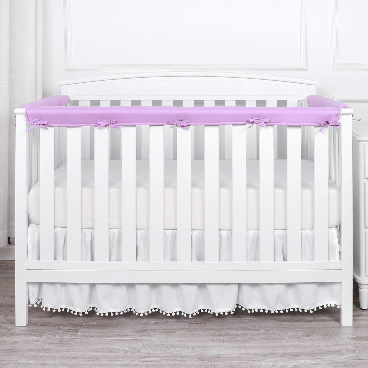 TILLYOU 3-Piece Padded Baby Crib Rail Cover Protector Set from Chewing, Safe Teething Guard Wrap for Standard Cribs, 100% Silky Soft Microfiber Polyester, Fits Side and Front Rails, Lavender