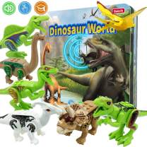 Dinosaur Toys for Boys and Girls 3 Years Old & Up Included 8 Realistic Durable Dinosaur Figures and Jurassic Adventure Roar Dinosaur Sound Book for Kid,Birthday Gift for Boy and Girls Toddler
