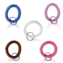 BIHRTC Pack Of 5 Colorful Spring Spiral Coil Keychain Coil Bracelets Stretchy Keychain Key Chain Bracelet Wrist Coil Key Chain Wrist Band Key Ring Wrist Key Holder Keychain Wrist Random Color
