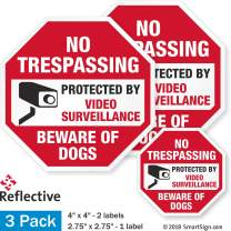 "SmartSign No Trespassing - Beware of Dogs, Video Surveillance Decal Set | Two 4""x4"" & One 2.75""x2.75"" Reflective Adhesive Label/Sticker"