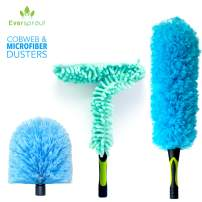 EVERSPROUT Duster 3-Pack | Hand-Packaged Cobweb Duster, Microfiber Feather Duster, Flexible Ceiling Fan Duster | Twists onto Standard 3/4 inch ACME Threaded Poles (Pole Sold Separately)(Soft Bristles)