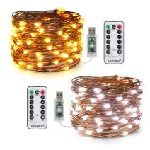 ER CHEN 2 Pack USB Color Changing Fairy Lights, 33ft 100 LED Warm White & Cool White 8 Modes USB String Lights with Remote&Timer for Bedroom, Festival, Party, Home Décor