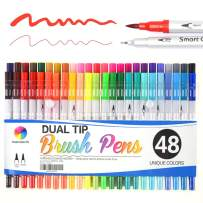 Journal Calligraphy Art Markers, 48 Colors Dual Tip Brush Pens with Fineliner Tip for Adult Coloring Books Drawing At School Home Office by Smart Color Art