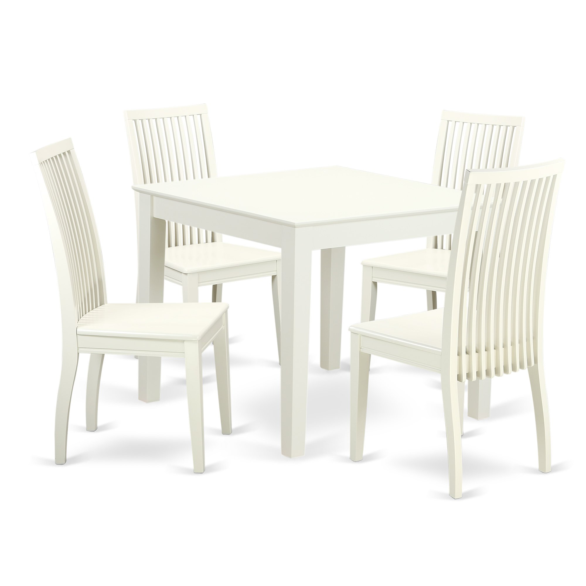 5-Piece Dinette table set - Table and 4 wood seat dining chairs in linen white finish