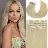 Loxxy Seamless Clip in Hair Extensions Human Hair Platinum Blonde #60A Ultra-Invisible Real Remy Natural Human Hair Extension Silky Straight Invisible PU Clip ins 7PCS 16inch 110gram