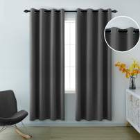 Gray Curtains 84 Inches Long for Living Room Set of 2 Panels Grommet Insulated Thermal Light Blocking Room Darkening Grey Blackout Curtains for Bedroom 52x84 Length Dark Grey