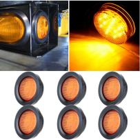 "cciyu 6 Pack Amber 2.5"" Round Clearance Marker Led Round Side Marker Light Flush Mount Truck Trailer"