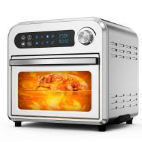 MOOSOO Air Fryer Oven, 10.6 QT Air Fryer Toaster Oven Combo with Digital Screen, 8 in 1 Convection Oven with Dehydrator, Bake, Broil, Less Oil, Temp/Time Dial, Stainless Steel,4 Accessories,100 Recipe