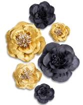 Letjolt Artificial Paper Flower Decorations for Wall Backdrop Birthday Party Wedding Ornaments Baby Shower Bridal Shower(Golden Black Set 6)