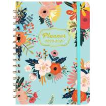 """2020-2021 Planner - Academic Weekly & Monthly Planner with Tabs, 6.3"""" x 8.4"""", July 2020 - June 2021, Hardcover with Back Pocket + Thick Paper + Banded, Twin-Wire Binding - Blue Floral"""