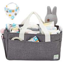 Homest Portable Diaper Caddy Organizer for Changing Table & Car, Nursery Storage Bins for Baby Boy Girl Shower Gifts, with 1 Bibs, Grey (Bag Only)