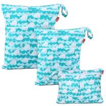 Damero 3Pcs Wet Dry Bag with 2 Zippered Pockets and Snap Handle for Cloth Diaper, Swimsuit, Clothes, Ideal for Travel, Exercise, Daycare, Roomy and Water-Resistant (Cute Whale)