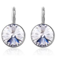 SBLING Rhodium Plated Leverback Drop Earrings Made with Swarovski Crystals (9.0 cttw)