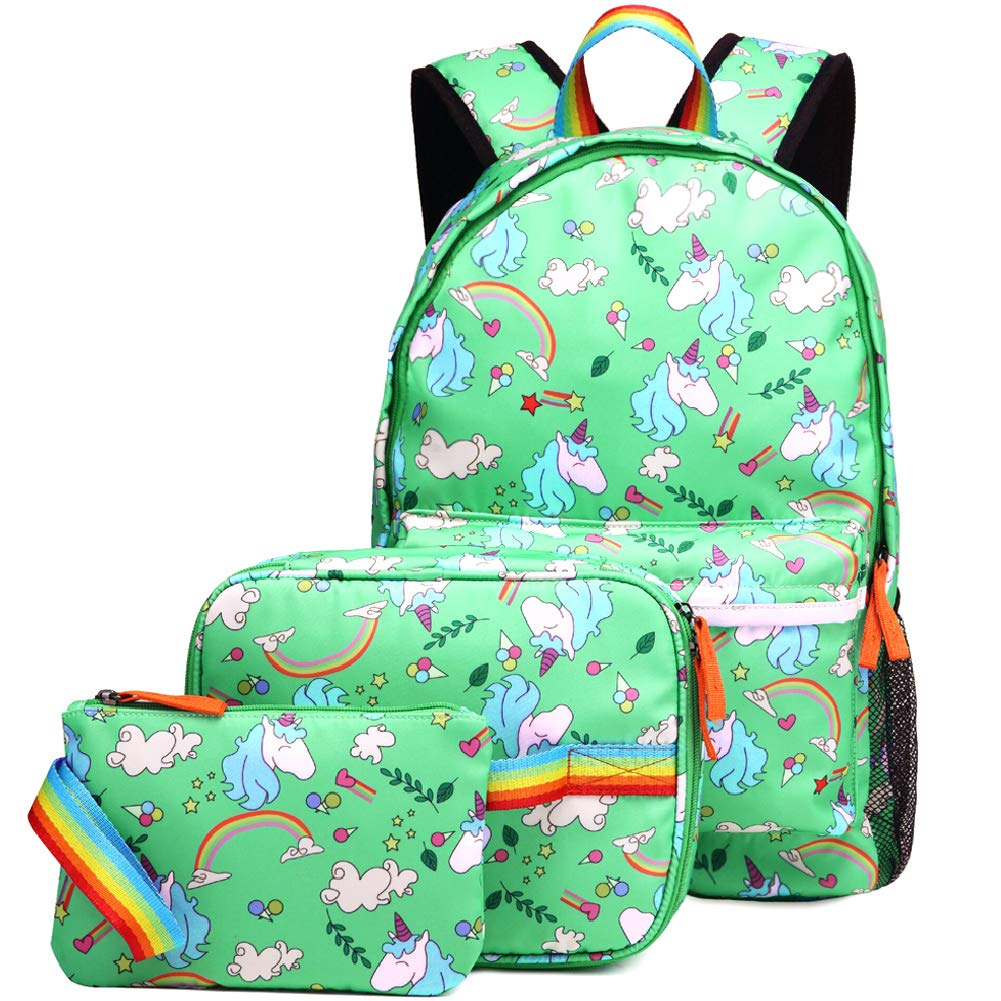 Kemy's Unicorn Backpack for Girls School Bookbag 3 Pieces Cute Inicorn Rainbow Book Bags 14inch Laptop Bag for Girl, Teal Green