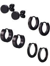 Mudder 4 Styles Stainless Steel Hoop Earrings Stud Earrings Huggie Piercing for Men and Women, 18 Gauge, 4 Pairs (Black)