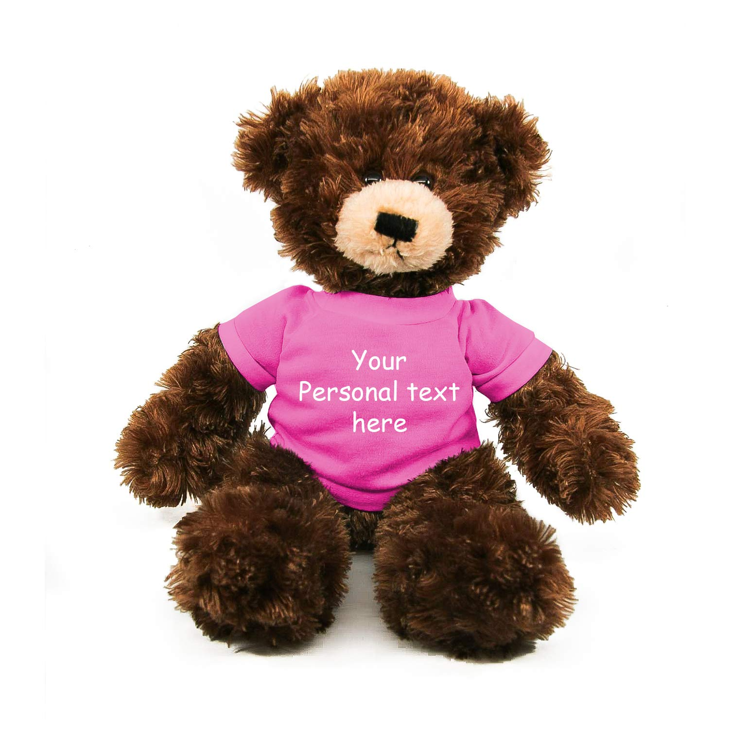 Plushland Chocolate Brandon Teddy Bear 12 Inch, Stuffed Animal Personalized Gift - Custom Text on - Great Present for Mothers Day, Valentine Day, Graduation Day, Birthday (Pink Shirt)