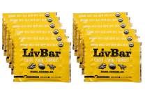 LivBar - Ginger Lemon Turmeric Organic Superfood Bar - USDA Certified - Non-GMO - Gluten, Peanut, Soy, and Dairy Free Protein Snack Bars with Compostable Wrapper - 12 Pack
