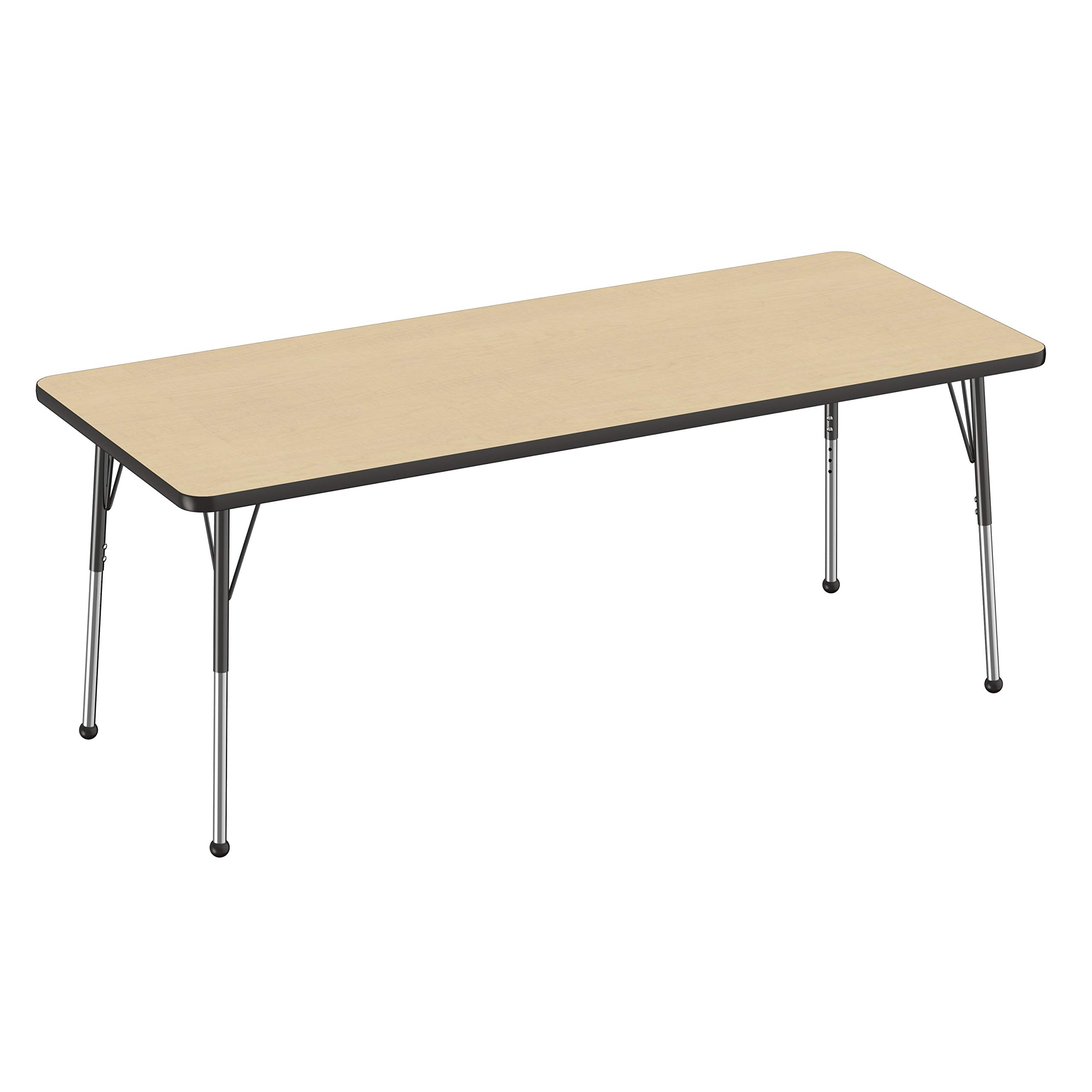 """Factory Direct Partners 30"""" x 72"""" Rectangle T-Mold Kids Classroom Adjustable Activity Table with Standard Leg and Ball Glides - Maple/Black"""