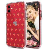 LOFTER Case for iPhone 11 Clear Shockproof Bumper Case [Drop Tested] Slim Crystal Transparent Protective Hard Defender Phone Cover with Cute Fruit Girls Design for iPhone 11 6.1 - Strawberry