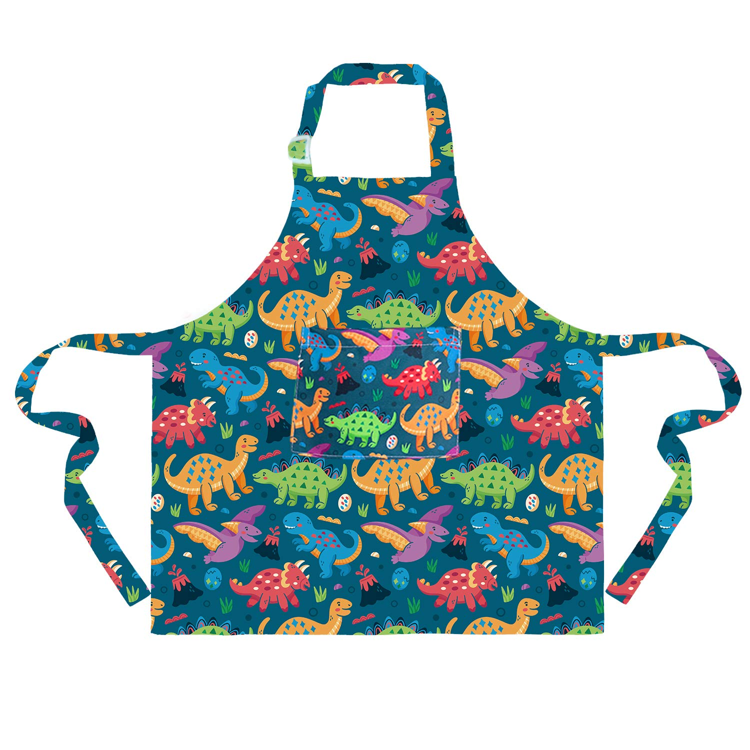 Sylfairy 1 Pack Aprons for Kids Girls Rainbow Unicorn Apron with Pockets for Children Kichen Chef Aprons for Cooking Baking Painting and Party (Green+Dinosaur, Medium,6-8Years)