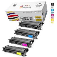 GLB Premium Quality High Yield Remanufactured Brother TN110 Toner Cartridges Set (Black, Cyan, Yellow, Magenta)