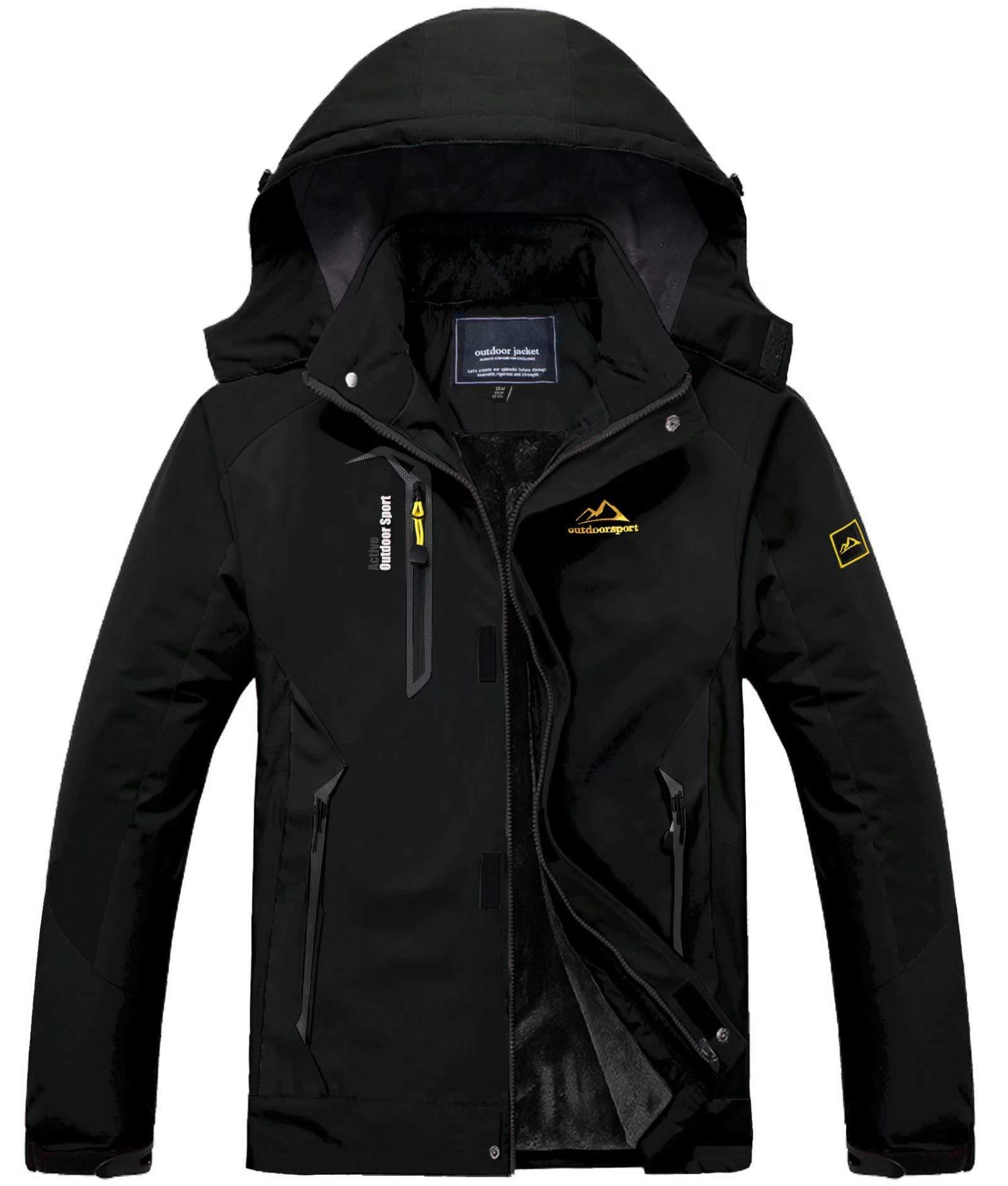 MAGCOMSEN Men's Warm Winter Coats Waterproof Snow Ski Jacket Fleece Lined Windproof Parka Detachable Hood