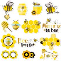 NICROLANDEE Honey Bee Baby Shower Photo Booth Props - 14 Pack Bumblebee Theme Party Centerpiece Sticks Table Toppers For Mommy To Bee Gender Reveal Party Supplies