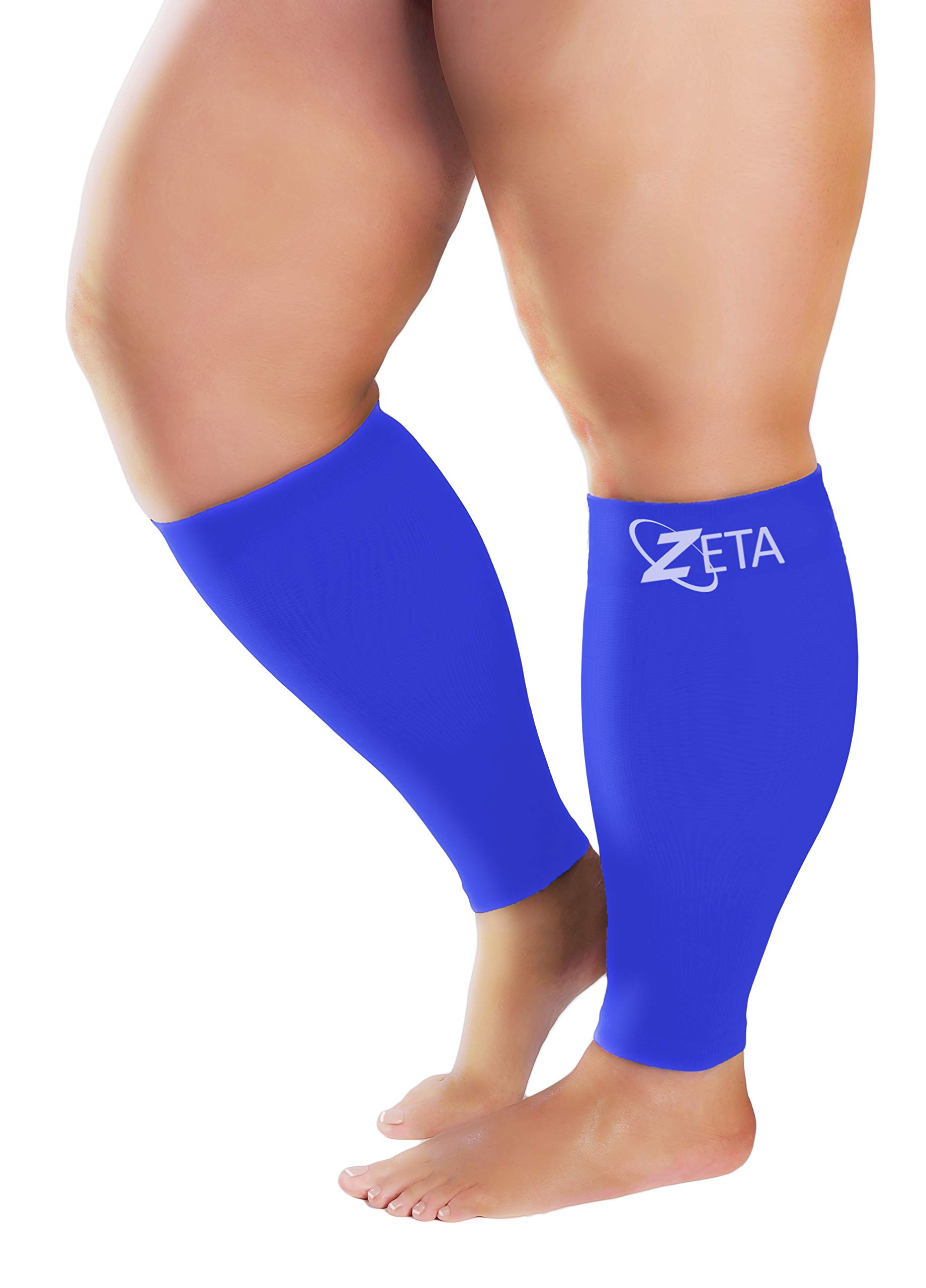 Zeta Sleeve XXL Wide Plus Size Calf Compression, Soothing Comfy Gradient Support, Prevents Swelling, Pain, Edema, DVT, Large Cuffs, Stretch to 26 Inches, Unisex, for Nurses, Seniors, Flights (Blue)