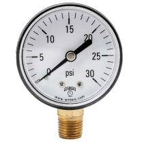 """Winters PEM Series Plastic Dual Scale Economical All Purpose Pressure Gauge with Brass Internals, 0-30 psi/kpa, 2"""" Dial Display, +/-3-2-3% Accuracy, 1/4"""" NPT Bottom Mount"""