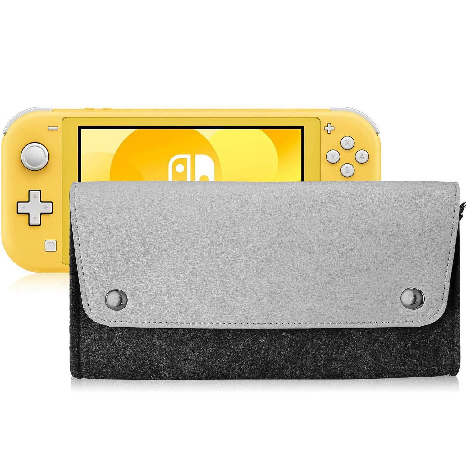 Polaland Switch Lite Felt Case, Portable Carrying Leather Bag Slim Protective Travel Pouch for Nintendo Switch Lite 2019 with 4 Game Cartridges Holders and Magnetic Clasp –Gray