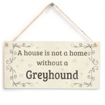 """Meijiafei A House is Not A Home Without A Greyhound - Rustic PVC Dog Sign/Plaque 10""""x5"""""""