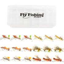 Fishing Fly Assortment - Foam Body High Visibility Grasshopper Dry Fly Collection with Fly Box - 18 Flies - Hook Size 8 and 10 - Fly Fishing Hoppers