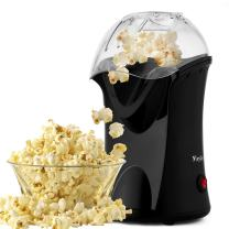 Hopekings Hot Air Popcorn Popper, 1200W Fast Popcorn Maker with Measuring Cup and Removable Lid Popcorn Machine No Oil Needed Healthy (Black)