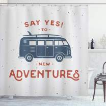 """Ambesonne Vintage Shower Curtain, New Adventures Typography with Little Van Hippie Lifestyle Free Spirit Print, Cloth Fabric Bathroom Decor Set with Hooks, 84"""" Long Extra, Cadet Blue"""