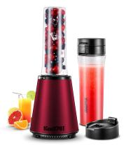 ICOOKPOT Smoothies Blender Electric Personal Size Blender for Shakes and Smoothies Frozen Fruit Vegetable Juice Blender Baby Food Maker With 2 BPA-Free Portable Sport Bottles 300W, Red