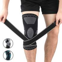 CROSS1946 Knee Compression Sleeve,Knee Brace with Strap for Knee Pain,Arthritis Relief,Weightlifting,Basketball,Jogging for Men & Women,Single,Black,M