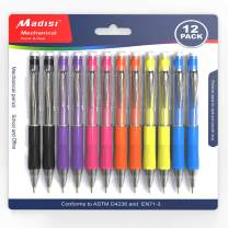 Madisi Mechanical Pencil, 0.7mm Medium Point, Assorted Barrels, 12-Count
