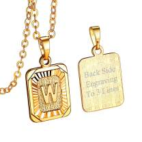 FOCALOOK Initial Letter Pendant Necklace Mens Womens Square Capital Letter Platinum/Yellow Gold Plated A-Z Copper Rolo Chain 22inch, Backside Customizable