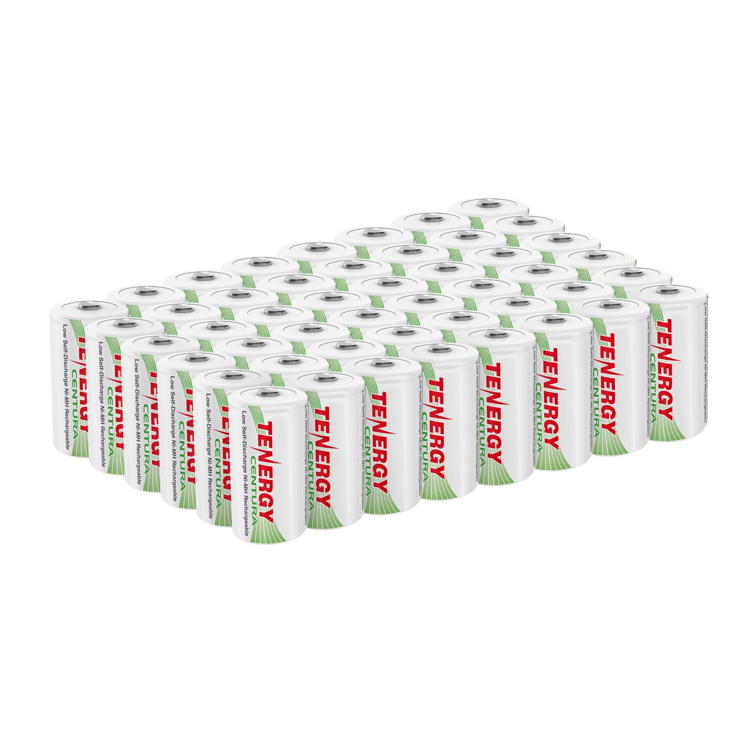 Tenergy Centura NiMH Rechargeable C Batteries, 4000mAh C Battery, Low Self Discharge C Cell Battery, Pre-Charged C Size Battery, 48 Pcs