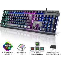 LORERAN Gaming Keyboard, USB Wired Keyboard Mechanical Feeling with Rainbow RGB Backlit, Full Metal Housing, Anti-ghosting, Water Resistant Perfect for Desktop, Computer - Black